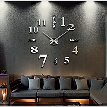 Amazon.com: Soledi Wall Clock Decal Modern DIY Large Number Wall ...
