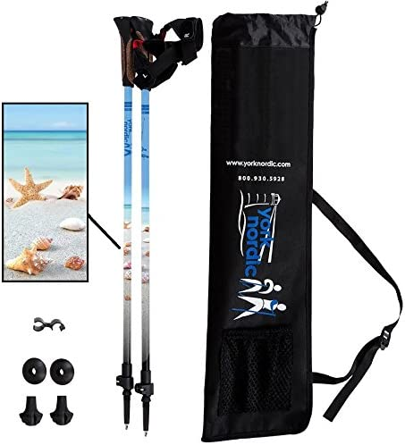York Nordic Beach Street Walking Poles – Shells Beach Design – Choice of Grips – 2 Poles, Tips Bag