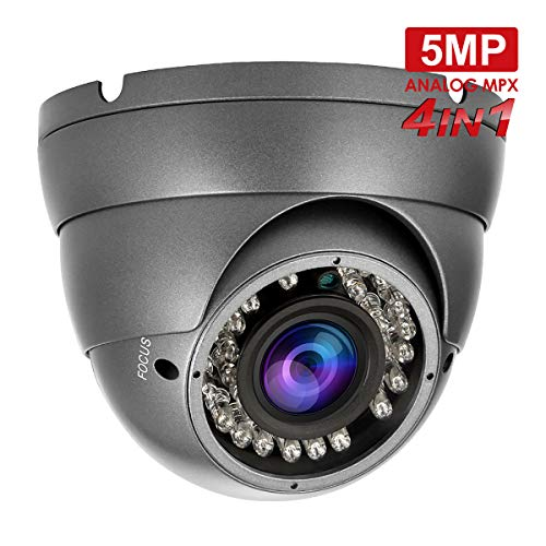 5MP 1080P Security Dome Camera, Anpvees HD 5MP 1080P 4-in-1 AHD/CVI/TVI/CVBS Security Cameras, 2.8-12mm Varifocal Lens Waterproof Outdoor Surveillance Camera-Grey