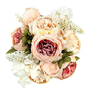 Shengyuan Artificial Flowers Fake Silk Peony Flower Bouquet Floral Plants Decor for Home Garden Wedding Party Decor Decoration,Light Pink 1