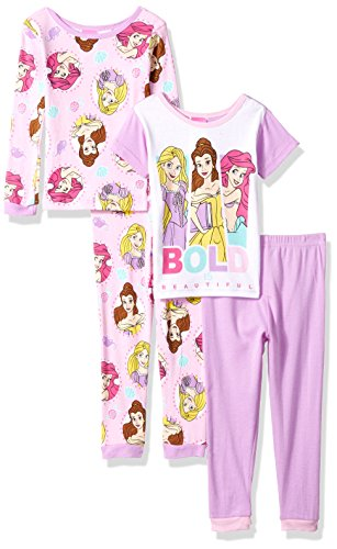 (Disney Girls' Little' Multi-Princess 4-Piece Cotton Pajama Set, Royally Proper Pink, 4)