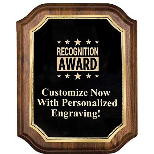 Custom Engraved Walnut Lifetime Plaques, 8x10 Personalized Recognition Gift Plaque with Gold Trim and Up to 5 Lines of Engraving Included Prime