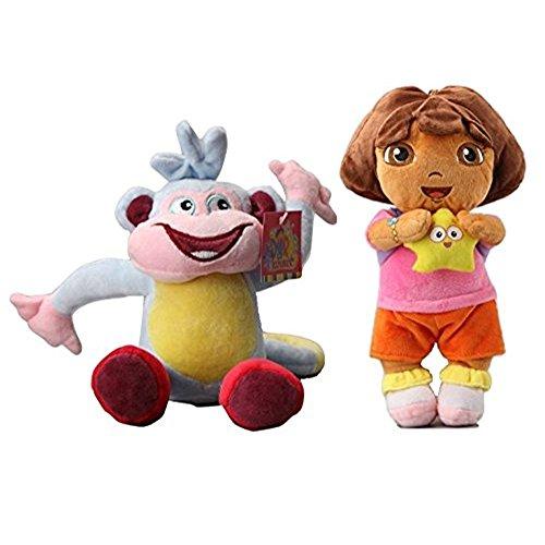 "Dora the Explorer Plush Dora 11.5"" & Monkey 9"" 2pcs Set Doll Stuffed Animals Figure Soft Anime Collection Toy"