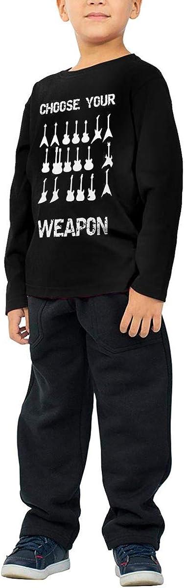 CERTONGCXTS Baby Girls Little Boys Choose Your Weapon Electirc Guitar ComfortSoft Long Sleeve Shirt