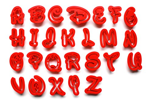 Disney Font Alphabet | Uppercase Letters | Fondant Cake Decorating Set or Cookie Cutters (Disney Cutters Alphabet Cookie)