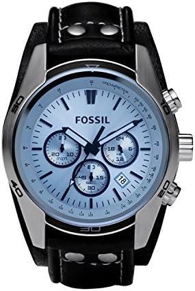 Fossil Men's Coachman Quartz Leather Watch Brown Color: Chronograph Silver Model: Wallet