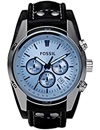 Men's CH2564 Blue Glass Silver Watch With Black Leather Cuff