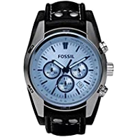 Fossil Men's 'Sport Cuff' Quartz Stainless Steel and Leather Casual Watch, Color:Black (Model: CH2564
