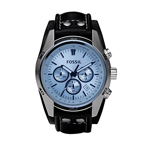 Fossil Men's Coachman Quartz Stainless Steel and Leather Casual Watch Color: Silver, Black (Model: CH2564)
