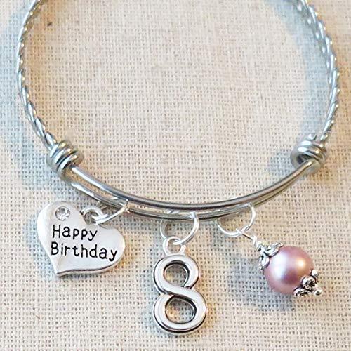 8th BIRTHDAY GIRL Birthday Charm Bracelet 8 Year Old Daughter Gift Idea