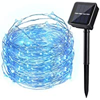 Ankway Solar String Lights Blue, 200 LED Fairy Lights 3-Strand Copper Wire Light 8 Modes 72 ft Outdoor String Lights Waterproof Twinkle Lights for Garden Patio Fence Indoor Wedding Party Tree