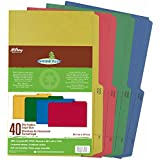 Hilroy 65000 Enviro-Plus Colored Recycled File Folders, Legal Size, 9x14-7/8-Inch, 9.5 Point, Pack of 40, Assorted Colors