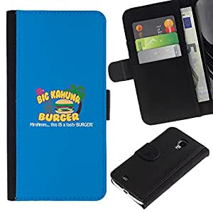 KLONGSHOP // Tirón de la caja Cartera de cuero con ranuras para tarjetas - Kahuna Hamburguesa Sabrosa - Samsung Galaxy S4 Mini i9190 //
