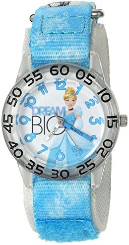 Disney Girl's 'Cinderella' Quartz Plastic and Nylon Automatic Watch, Color:Blue (Model: W002939)