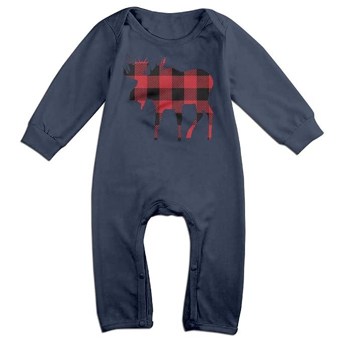 Amazon.com: Buffalo Plaid Moose leñador rojo y negro bebé ...