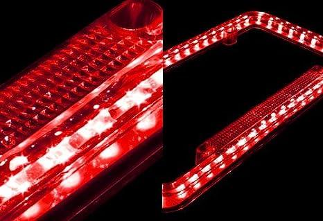 12 V 54 LED Color Light License Plate Frame Red F /& B