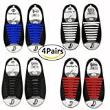 4 Pairs Lazy No Tie Silicone Shoelace For Kids And Adults, Rubber Tieless Elastic Slip Sneaker Shoelace Running Shoelace Athletic Shoe Laces   amazon.com