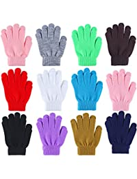 12 Pairs Kid's Winter Magic Gloves Children Stretchy Warm Magic Gloves Boys or Girls Knit Gloves