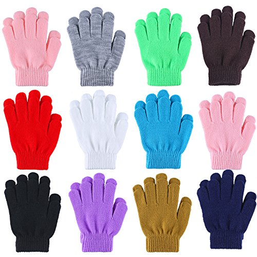 Coobey 12 Pairs Kid's Winter Magic Gloves Children Stretchy Warm Magic Gloves Boys or Girls Knit Gloves (6 to 10 Years) (12 Random color)