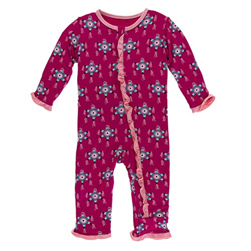 - Kickee Pants Little Girls Print Layette Classic Ruffle Coverall with Zipper - Rhododendron Piñata, 0-3 Months