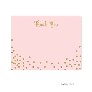 Andaz Press Blush Pink Gold Glitter Girls 1st Birthday Party Collection Blank Thank You Notes