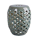 Hawthorne Collections Ceramic Garden Stool in Antique Teal