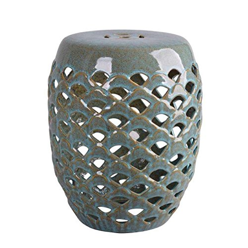 Hawthorne Collections Ceramic Garden Stool in Antique Teal by Hawthorne Collections