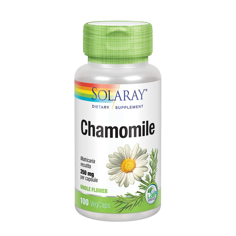Solaray Chamomile 350 mg | Whole Flower | Healthy Relaxation & Soothing Support for Gastrointestinal & Respiratory Tracts | Non-GMO | 100 VegCaps