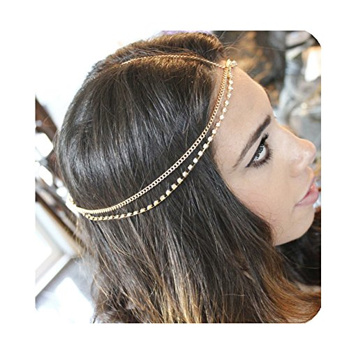 (Zealmer Girls Head Chain Jewelry Rhinestone Headbands Crossover Headpiece Jewelry Hair Band Tassels)