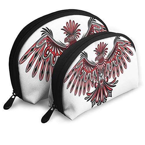 Shell Shape Makeup Bag Set Portable Purse Travel Cosmetic Pouch,Haida Art Eagle Motif Native American Tribal Pattern Totem Illustration,Women Toiletry - Native Haida Art