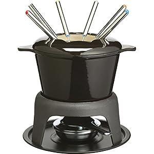 Kitchen Craft MasterClass Set Regalo per Fonduta in Ghisa Smaltata, con Sei Forchette, Nero 9