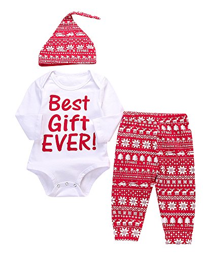 """Newborn Baby Boys Girls 'My 1st Christmas"""" Long Sleeve T-shirt Pants Hat Outfits (0-3M, Best Gift (Best Girl Outfits)"""