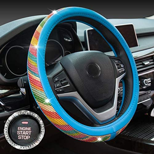 Crystal Diamond Steering Wheel Cover, PU Leather with Rainbow Bling Bling Rhinestones, Universal 15inch / 38cm for Women Girls, Blue