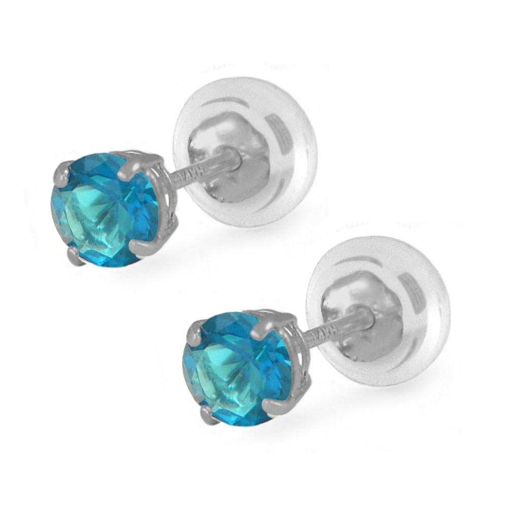 14K White Gold 4mm Simulated Birthstone Silicone Back Girl Stud Earrings Loveivy ceghl-wg4m09