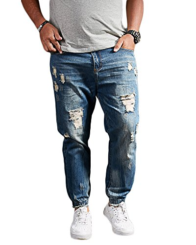 Hombre Ocio suelto Jeans Lavado denim Elásticos Pantalones Agujero Tamaño grande Jeans Azul