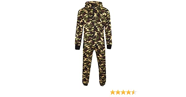 Mens Unisex Onesie Full Camouflage Print Zip Up All In One Hooded Army Camo Jumpsuit at Amazon Mens Clothing store: