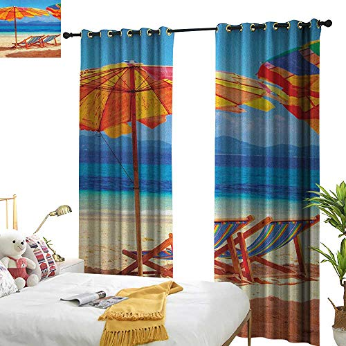 longbuyer Seaside Drapes for Living Room Deck Chairs Overlooking Tropical Sea of Thailand Beach Exotic Holiday Picture W96 x L84,Suitable for Bedroom Living Room Study, etc.