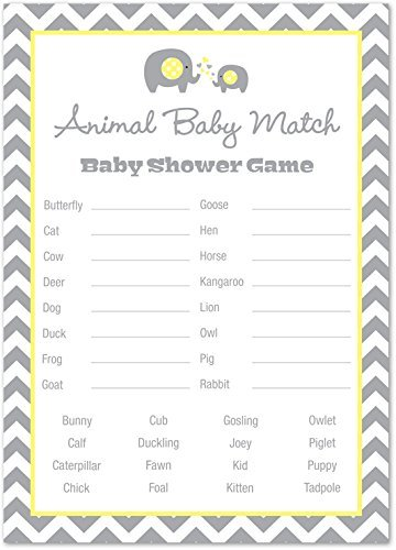 24 Chevron Elephant Baby Shower Animal Name Game Cards (Yellow) by MyExpression.com (Image #3)