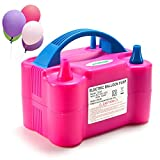AGPTEK Electric Air Balloon Pump, 110V 600W Rose Red Portable Dual Nozzle Inflator/Blower for Party Decoration, Size-20 x 15 x 12 (cm)
