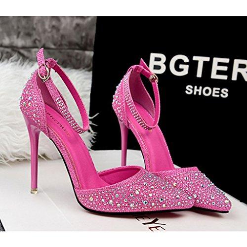 ALUK- Damenschuhe - High Heels Spitze Schuhe Pailletten Strass Hochzeit Schuhe Sexy Party Schuhe ( Farbe : Rose Rot , größe : 35-Shoes long225mm ) Rose Rot