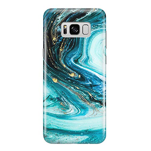 uCOLOR Case Compatible for Samsung Galaxy S8 Turquoise Gold Marble Slim Shockproof Luxury Fashion Silicone Soft Rubber TPU Protective Case for Galaxy S8