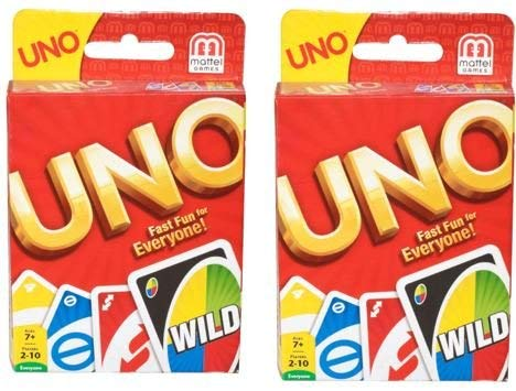 Red Uno - Mattel 4347154784 Uno Card Game 2 Pack, Red