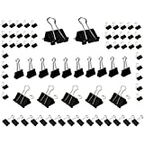 Mseeur 72 Pieces Binder Clips Paper Binder Clips for Keeping Documents Together, Assorted Sizes, Black and Silver Color