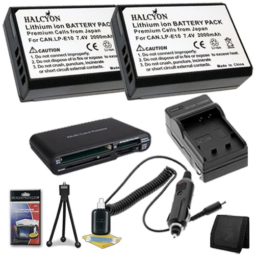 Two LP-E10 Lithium Ion Replacement Batteries w/Charger + Memory Card Reader/Wallet + Deluxe Starter Kit for Canon EOS Rebel T3 Digital SLR Camera DavisMAX Bundle by DavisMAX