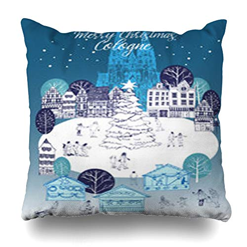 VivYES Throw Pillow Covers Europe Watercolor Celebration Cologne Christmas Market City Drawing Travel Happy Design Zippered Pillowcases Square Size 18