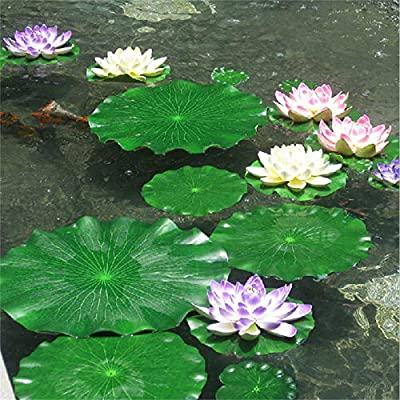 2PC Artificial Lotus Leaf Water Floating Flower Pond Fish Tank Plant Yard Decor