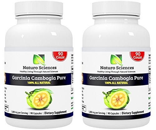Garcinia Cambogia Pure Extract BIG SIZE By Naturo Sciences - Best Quality All Natural Health Supplement - Live for Your Body - 180 Count (2x 90ct), 1000mg Per Serving, 90 Servings by Naturo Sciences