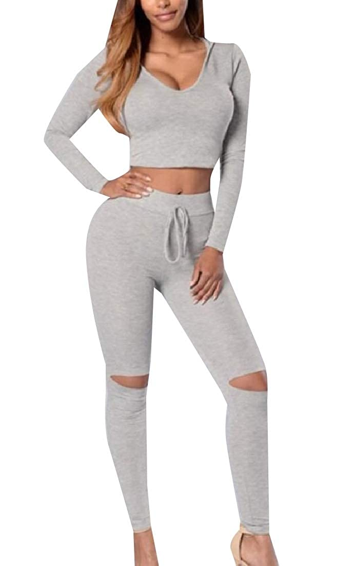 Andopa Womens Cozy Hooded High Waist Crop Bodycon Ripped Hole Sweatsuit