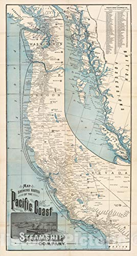 Historic Map - Timetable Map, Pacific Coast Steamship for sale  Delivered anywhere in USA
