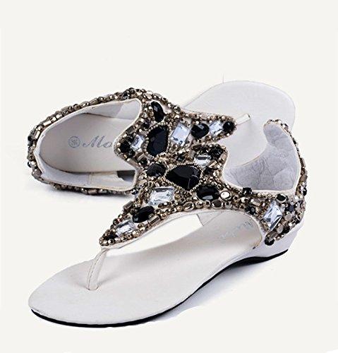 TMKOO& piedras preciosas hechas de diamantes de Europa y América palabra romana zapatos clip de las sandalias planas de cuentas marea diamante flip B